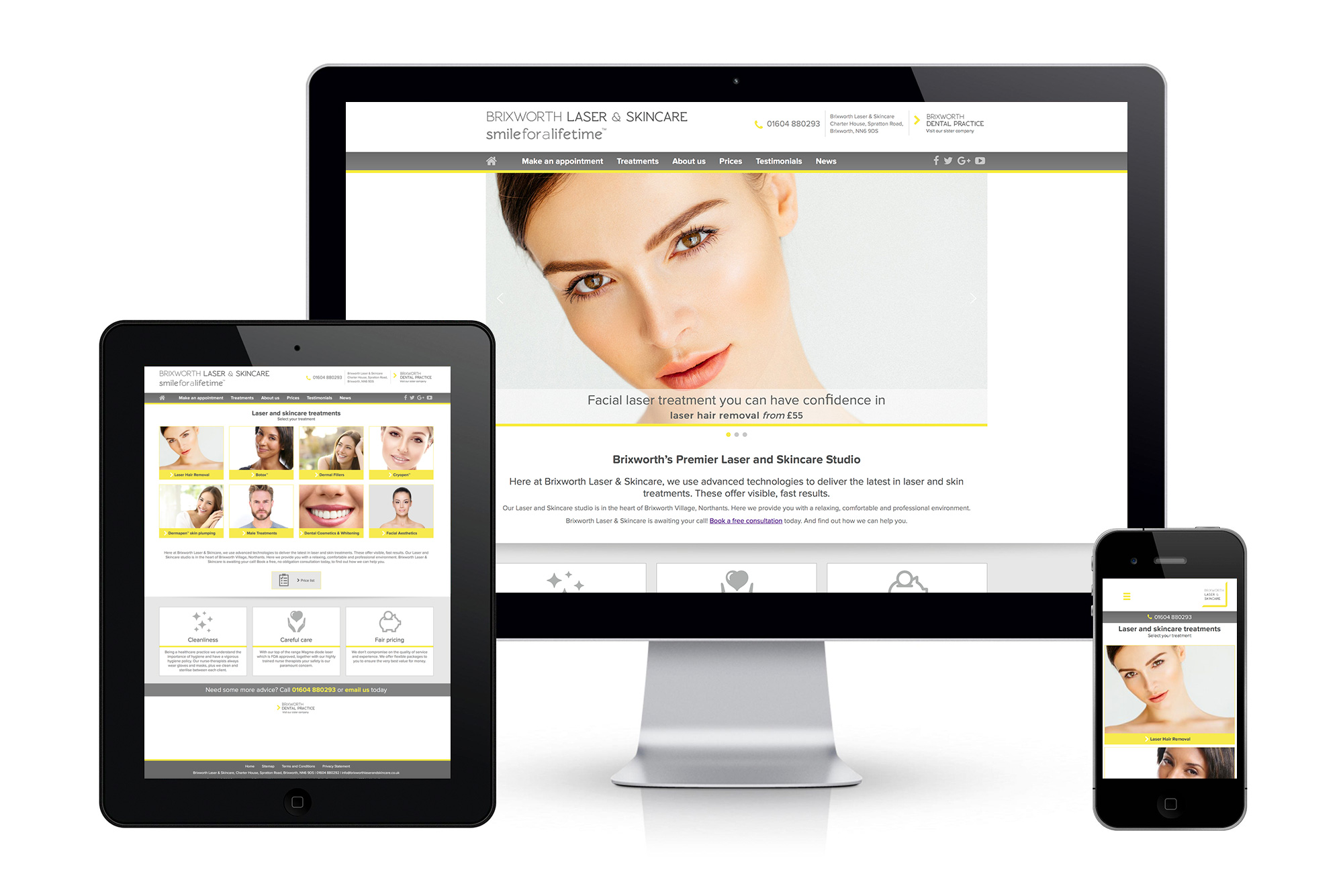 Brixworth Laser and Skincare website image