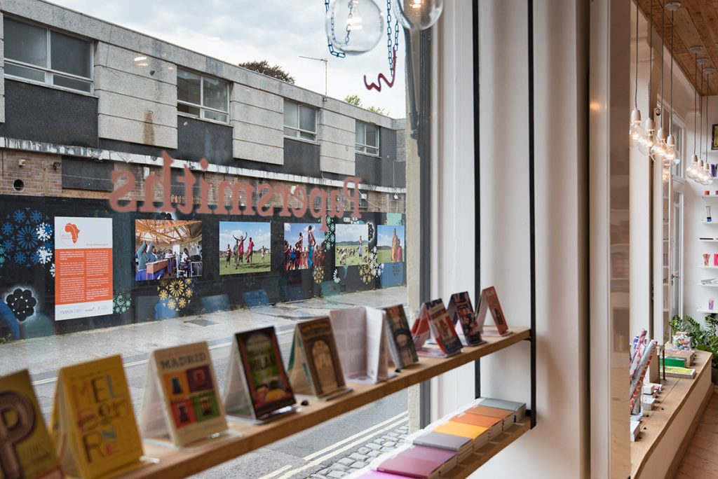 The external exhibition as seen from inside Papersmiths stationery shop