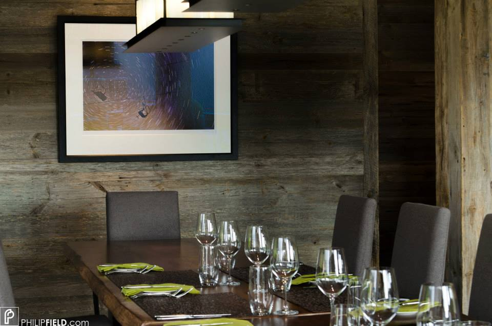 Star Trail image hanging in Richard Branson's Verbier Lodge above dinner table