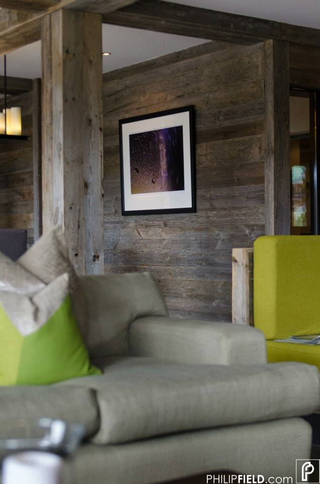 Star Trail image hanging in Richard Branson's Verbier Lodge lounge