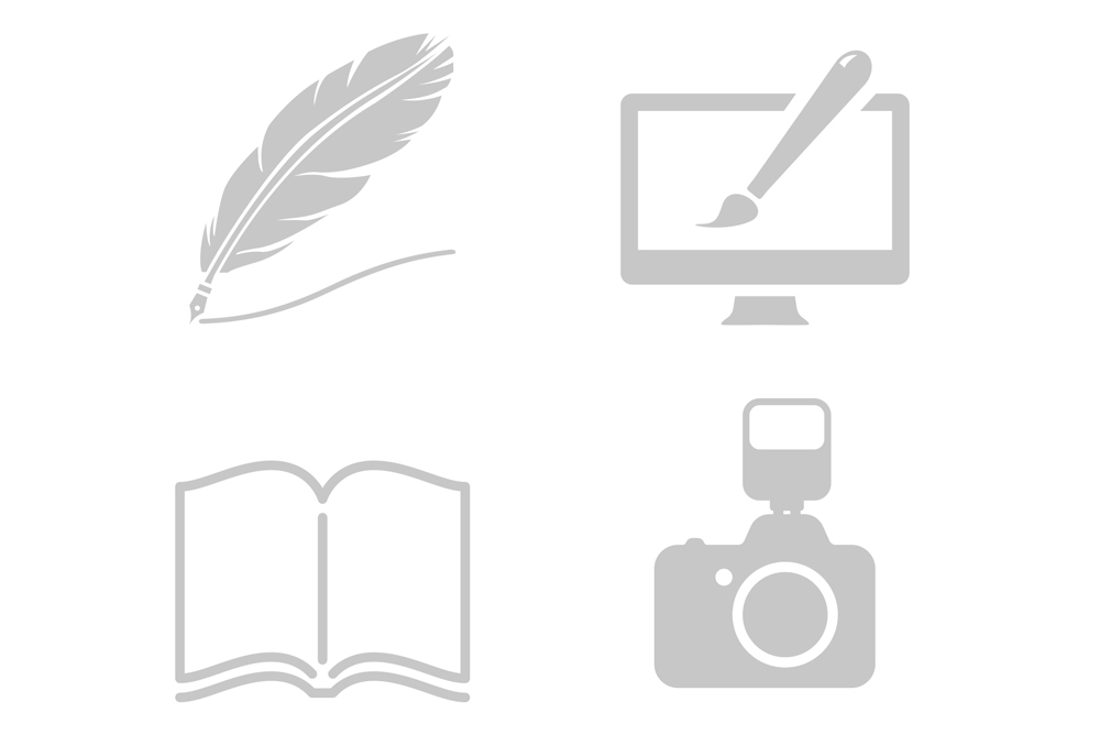 Icons showing different graphic design and photography services in Bath