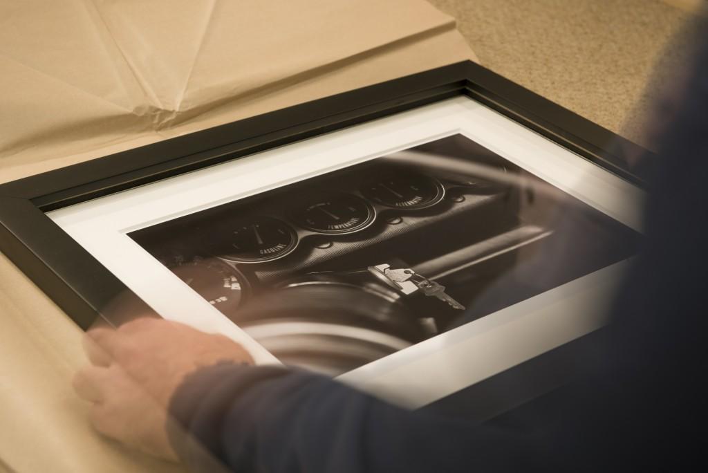 Tornado Automotive print being framed
