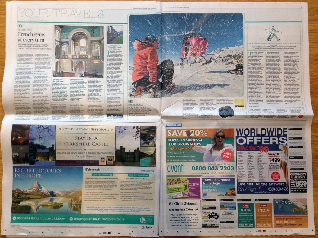The Daily Telegraph Travel page - featured as The Big Picture winner of round 403