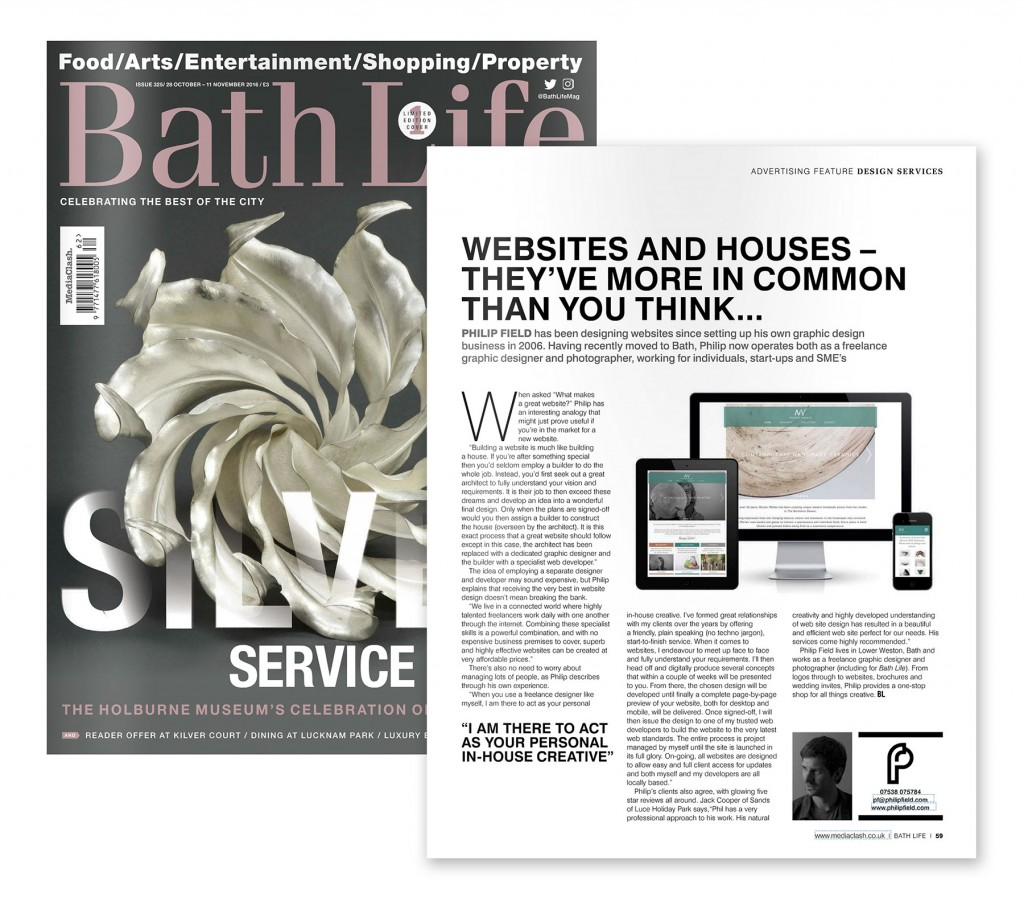 Bath Life Issue 325 cover and website article by Philip Field