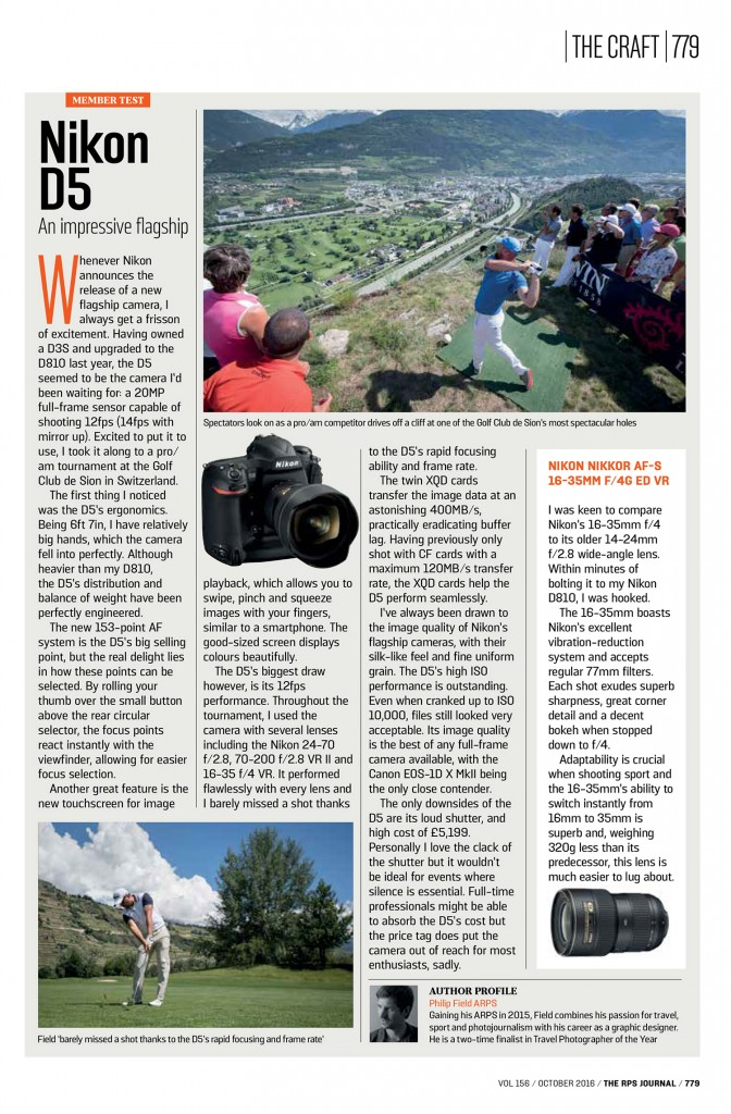 RPS Journal - October 2016 - Philip Field - Nikon D5 and 16-35 f/4 VR lens review