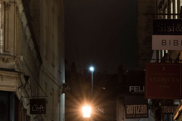 Bartlett Street, Bath, at night