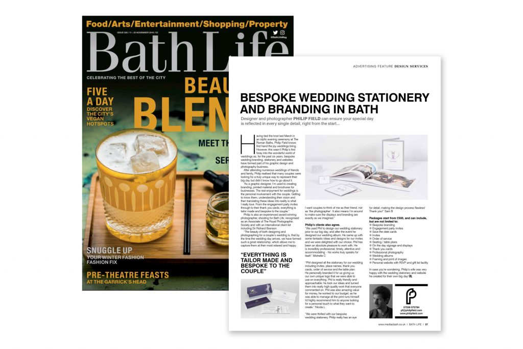 Bath Life feature on bespoke wedding stationery