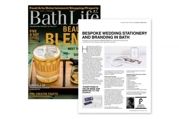 Bath Life feature on bespoke wedding stationery