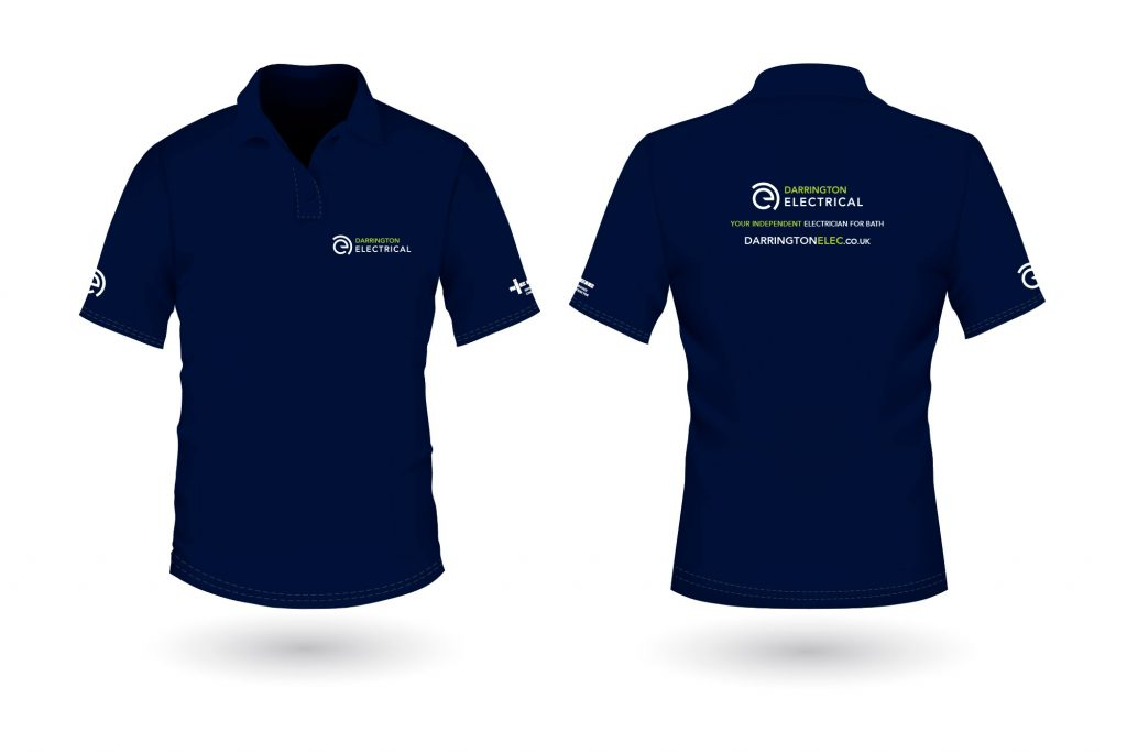 Branded work wear including embroidered polo shirts