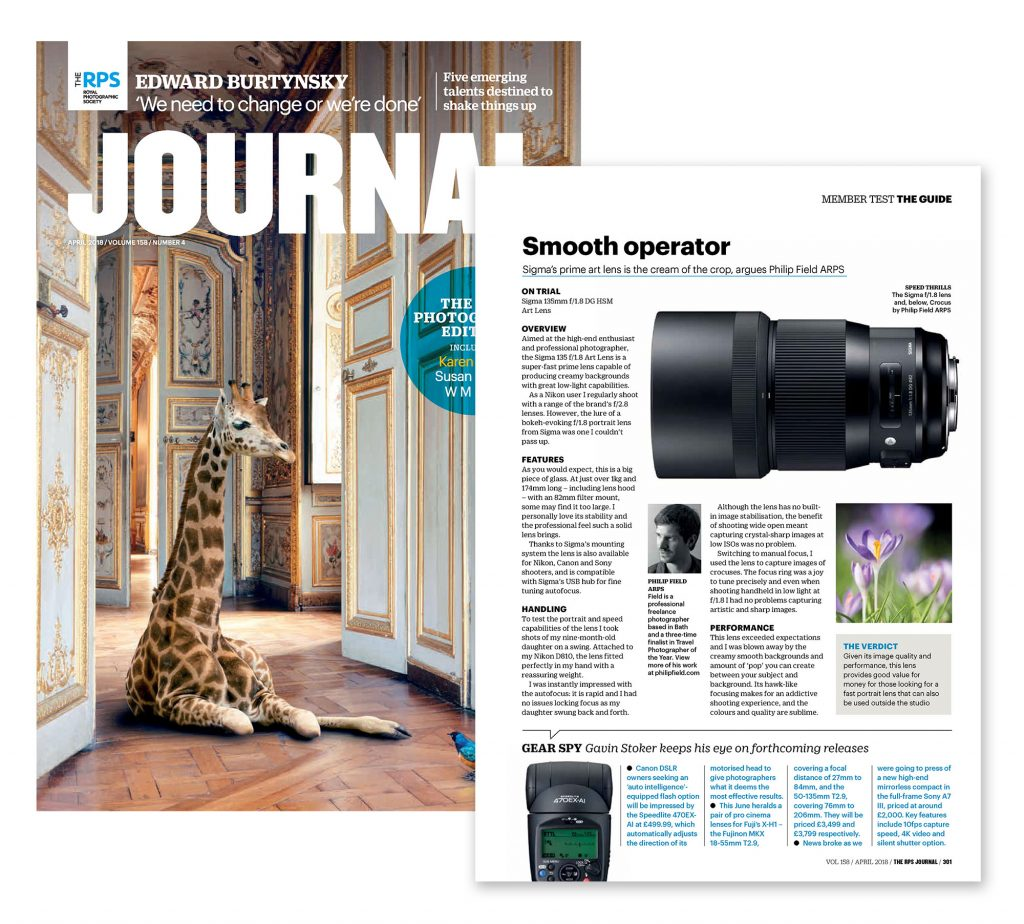 The Royal Photographic Society Journal Magazine review of the Sigma 135mm f/1.8 art